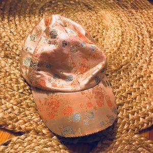 Asian style silky pink oriental floral hat